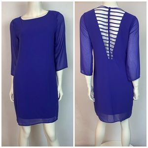 TeenpLo Dramatic Strappy Backless Blue Dress Small
